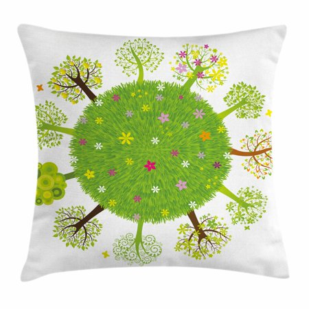 Earth Throw Pillow Cushion Cover  Various Green Trees Around The World In Full Blossom Spring Season Eco Planet Flowers  Decorative Square Accent Pillow Case  24 X 24 Inches  Multicolor  By Ambesonne