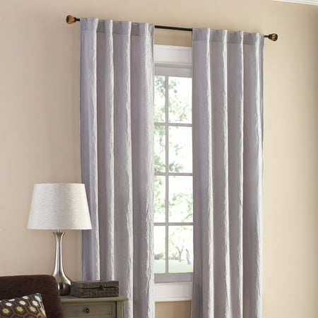 Mainstays Gray Crushed Microfiber Window Panel Pair 2 Ct Pack ()