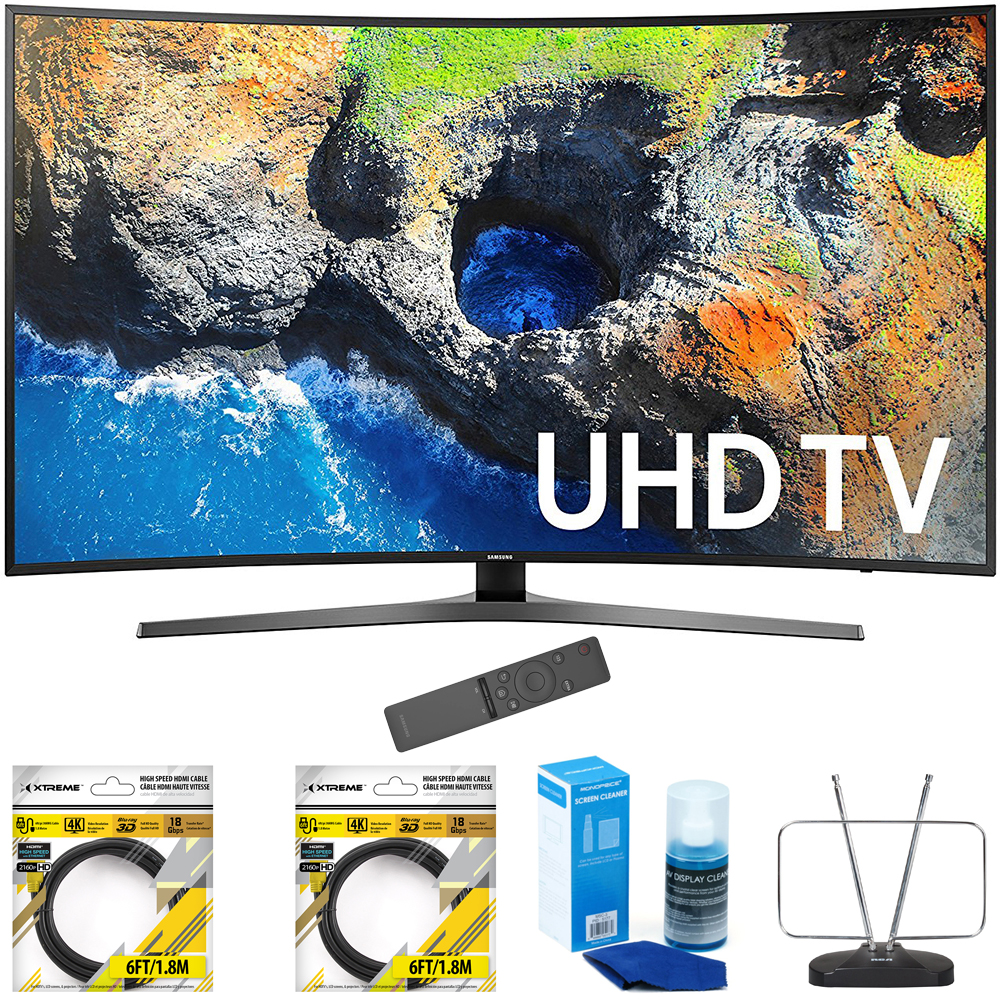 "Samsung 54.6"" Curved 4K Ultra HD Smart LED TV 2017 Model (UN55MU7500) with 2"