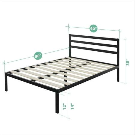 Zinus Mia 38 Quot Black Metal Platform Bed With Headboard
