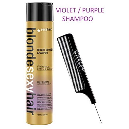 Honey Silver Snap (Blonde Sexy Hair BRIGHT BLONDE VIOLET SHAMPOO for Blonde, Highlighted, Silver Hair, with Chamomile, Honey, Quinoa, Free of SLS Sulfates (Designated Kit) Purple (10.1 oz / 300)