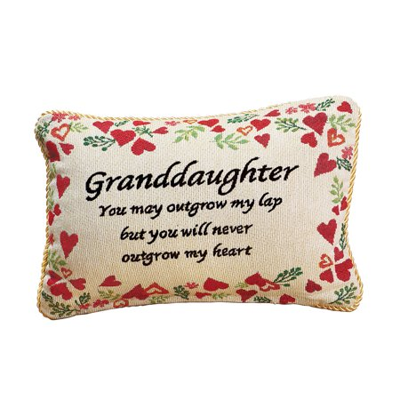 Never Outgrow My Heart Granddaughter Pillow Sentiment (Lace Heart Pillow)
