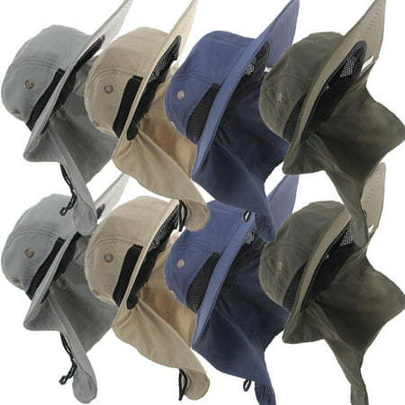 SUNSIOM Neck Flap Boonie Hat Fishing Hiking Safari Outdoor Sun Brim Bucket Bush Cap Blue