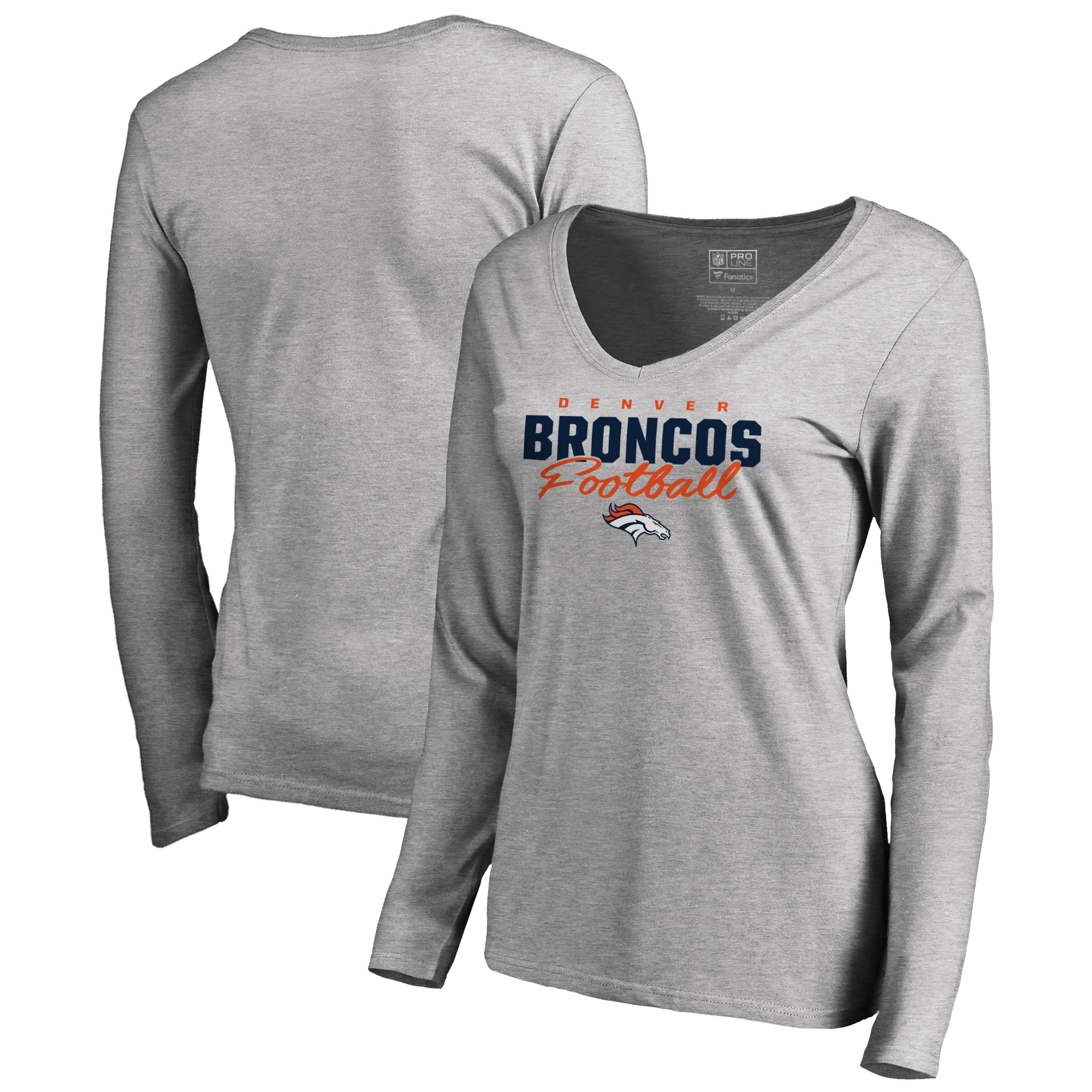 Denver Broncos NFL Pro Line by Fanatics Branded Women's Iconic Collection Script Assist Long Sleeve V-Neck T-Shirt - Ash