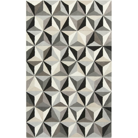 8' x 11' Dazzling Diamonds Onyx Black and Timberwolf Gray Hand Tufted Wool Area Throw Rug ()