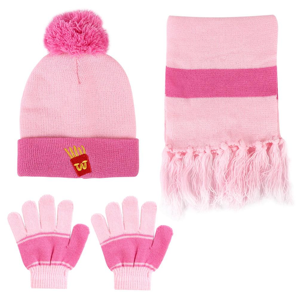 Vbiger Kids 3-Pieces Knit Hat + Scarf + Gloves Set Winter Warm Set for Boys Girls