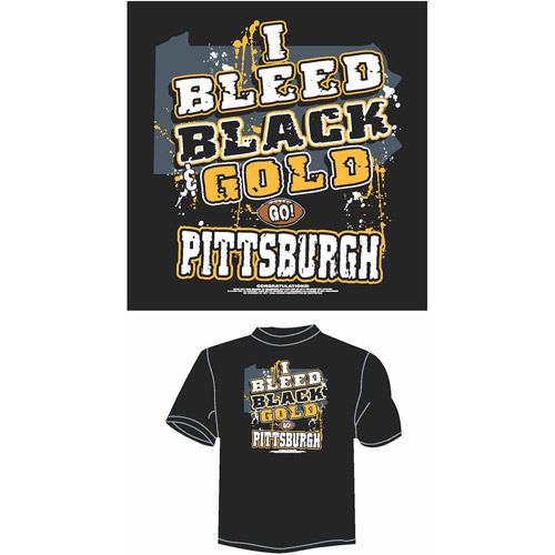 "Pittsburgh Football ""I Bleed Black and Gold, Go Pittsburgh"" T-Shirt, Black"