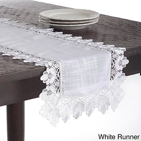 Fennco Styles Venetto Lace Trimmed Elegant Table Runner   White Color   16  X36   Rectangular