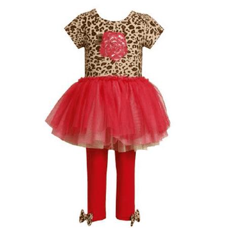 Bonnie Jean Girls Rose Leopard Bodice Tutu Legging Set  CLEARANCE 12 months