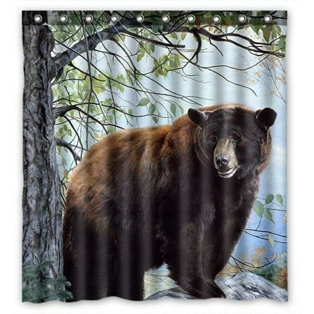 GCKG Bear ForestWaterproof Polyester Shower Curtain Bathroom Deco 66x72 inches