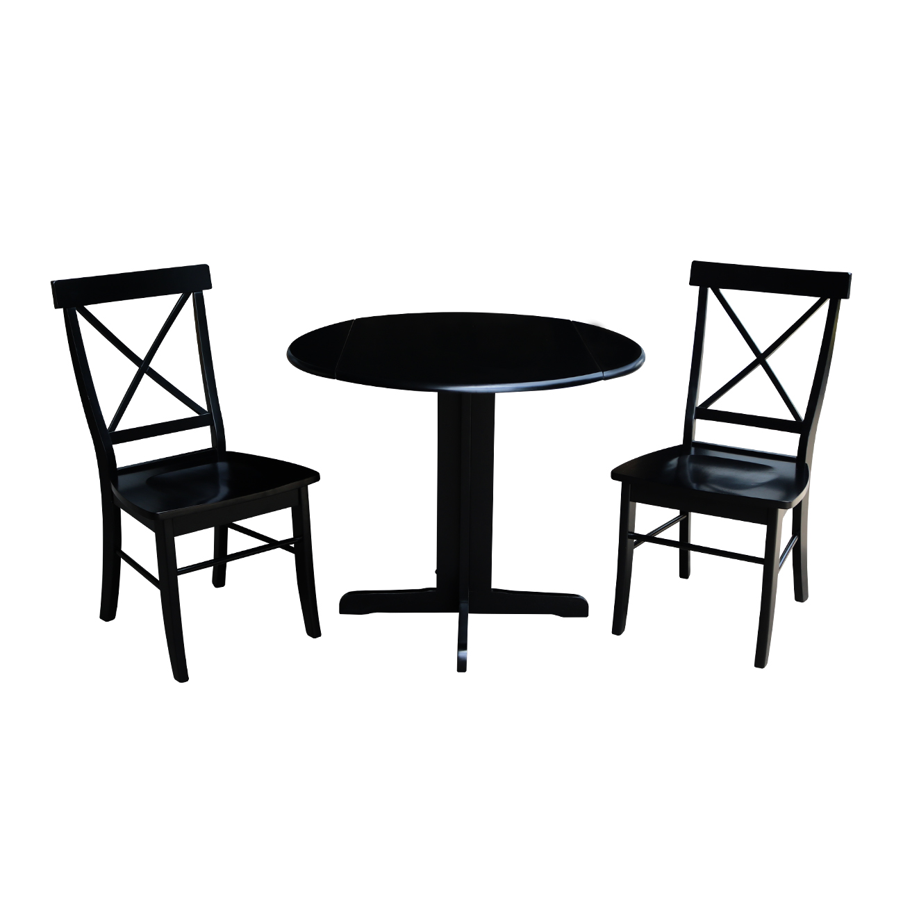 36 inch Dual Drop Leaf Dining Table with Two X-back Chairs in Black