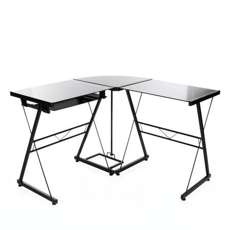 l shaped corner computer desk in black glass workstation with pull out keyboard black. Black Bedroom Furniture Sets. Home Design Ideas