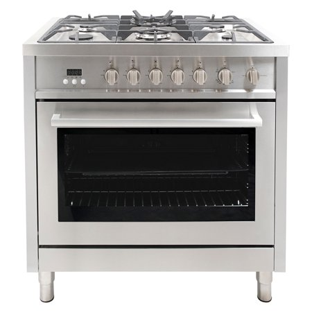Cosmo 36 in. 3.8 cu. ft. Gas Range with Oven and 5 Burner Cooktop with Heavy Duty Cast Iron Grates and 4 Legs in Stainless Steel