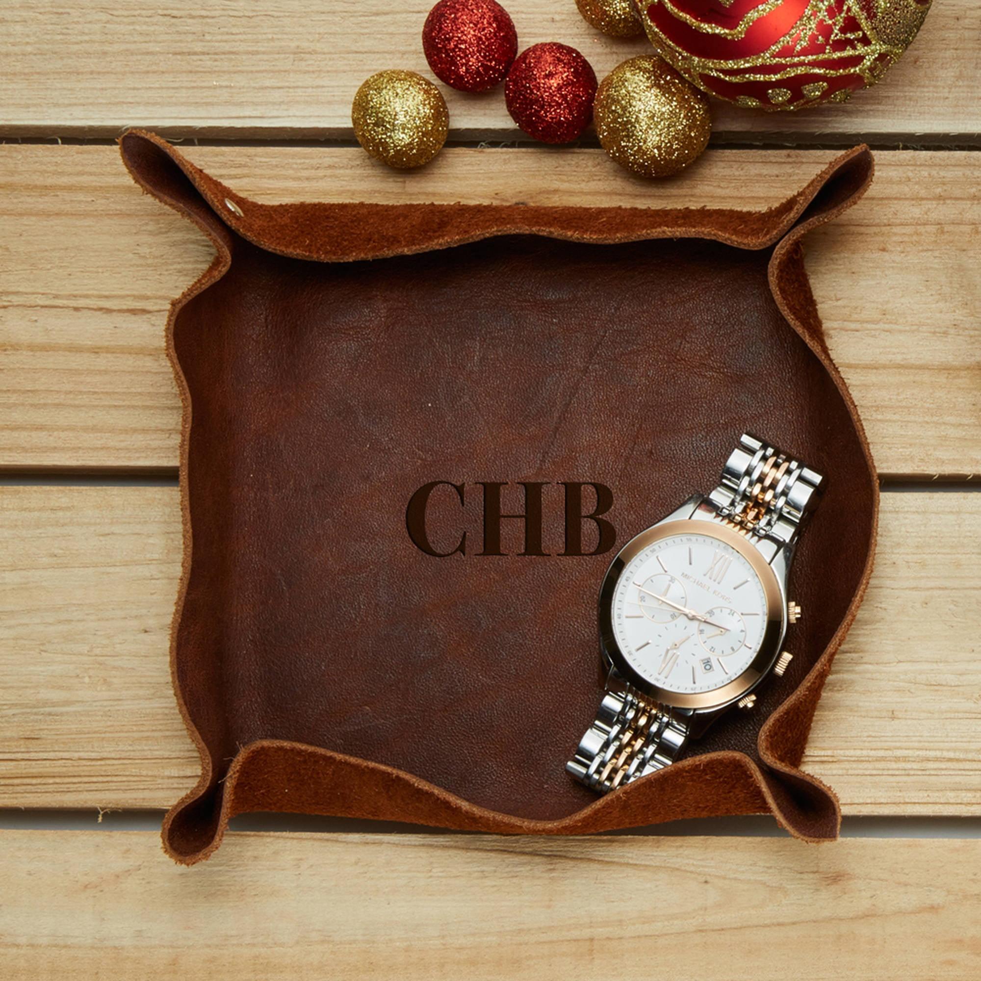 "Custom Monogram Genuine Leather Stash Tray 6"" x 6"""