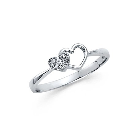 Two Hearts One Love Ring (Heart Ring CZ Solid 14k White Gold Two Hearts Together Love Band Right Hand Promise Ring)