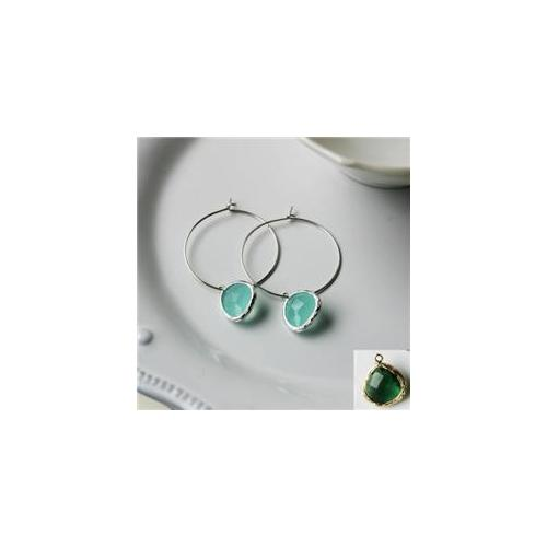 Rebecca HLSSE Hoop Stone - Silver-Emerald