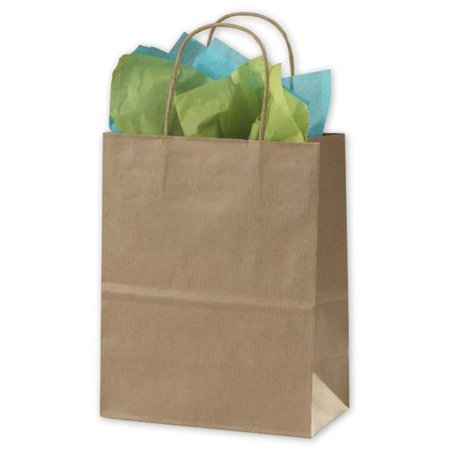 Kraft Shoppers (Bags & Bows by Deluxe 15-080409-8 Kraft Varnish Stripe Shoppers - Case of 250 )
