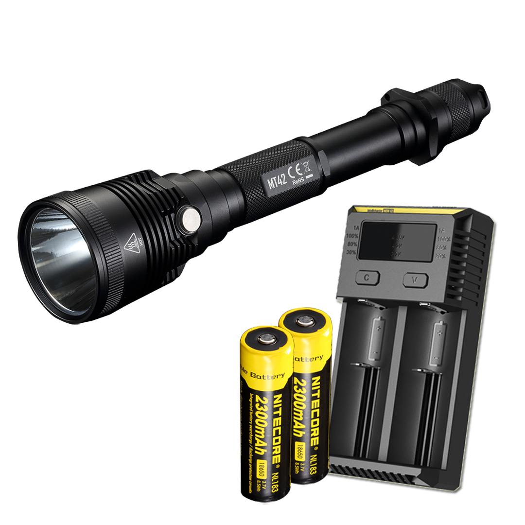 NITECORE MT42 1800 Lumen Long Throw Hunting Flashlight w/ Batteries & Charger