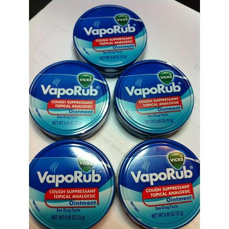 Vicks Vaporub Ointment Cream Cough Suppressant and Topical Analgesic of 0.45 Oz JAR - 5