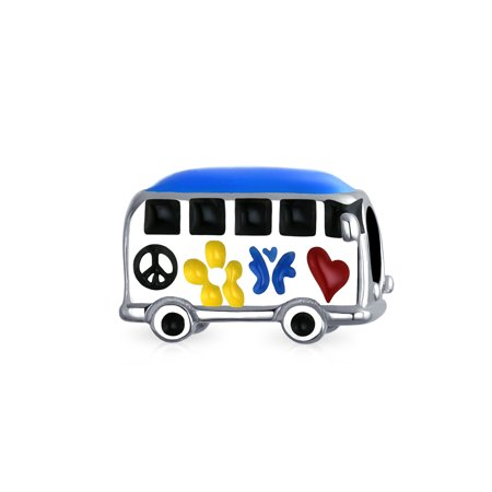 Peace Love Hippie Bus 1960's Multi Color Charm Bead For Teens For Women Oxidized Sterling Silver Fits European Bracelet - Teen Hippie