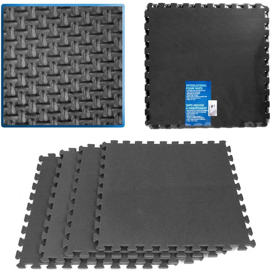 Stalwart 16 sq ft Ultimate Comfort Foam Flooring, Black, 4pc