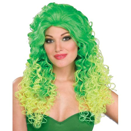 Adult Womens 80s Green Pop Glam Costume Wig