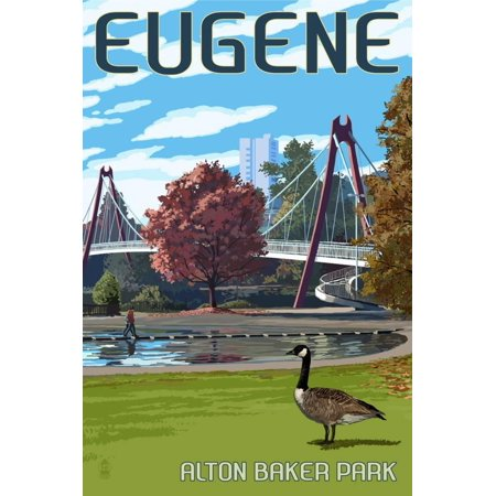 Eugene, Oregon - Cityscape Print Wall Art By Lantern Press - Party City Eugene Oregon
