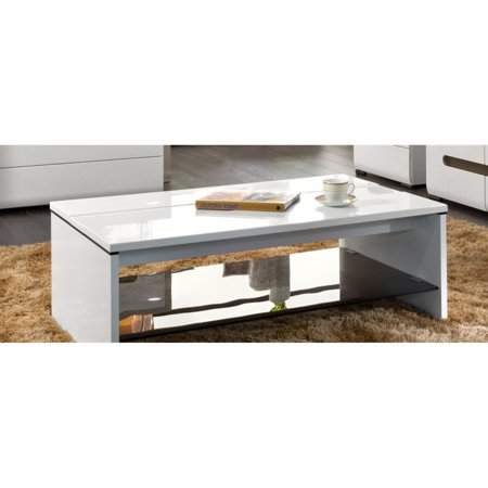 Black Red White Azteca Coffee Table With Gl Shelf