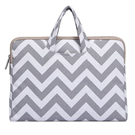 Mosiso Laptop Briefcase Handbag for 14-15 Inch 2017 & 2016 New MacBook Pro with Touch Bar A1707, Notebook Computer Ultrabook, Chevron Style Canvas Fabric Carrying Sleeve Case Cover, Gray