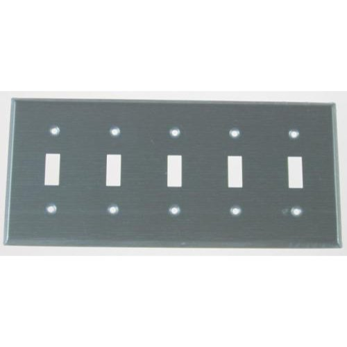 Leviton 104-84023-040 Five Gang Stainless Steel Five Toggles Wallplate
