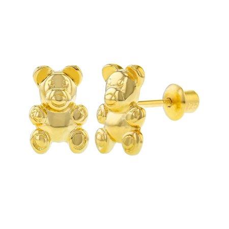 Teddy Bear Enamel Earrings - 925 Sterling Silver Kids Children's Teddy Bear Earrings Screw Back