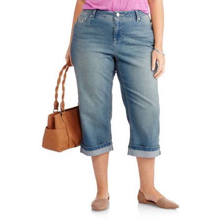 29657f4385 Faded Glory - Faded Glory Women s Plus-Size Embellished Denim Capri -  Walmart.com