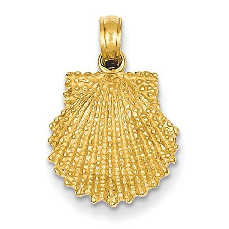 14K Yellow Gold Textured Scallop Shell Charm Pendant 14k Scallop Shell Charm
