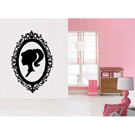 "Decal ~ Barbie Silhouette in Vintage Frame ~ WALL DECAL 22"" x 33"""