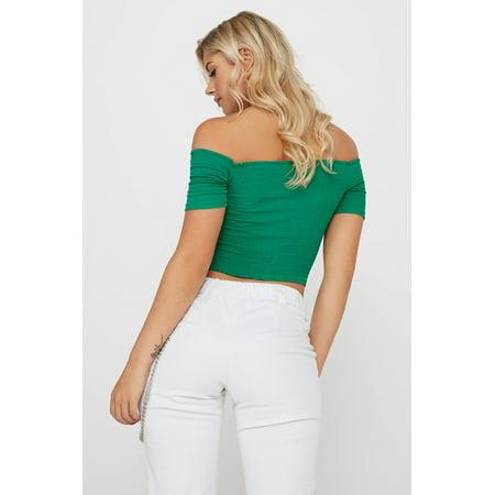 1e9e704569ffda Urban Planet Women s Off The Shoulder Short Sleeve Smocked T-Shirt - image  1 of ...