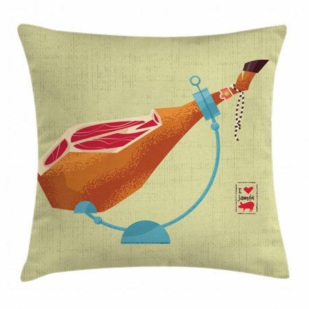 Spanish Throw Pillow Cushion Cover, Dry-Cured Spanish Ham Traditional European Restaurant Dinner Themed Graphic Print, Decorative Square Accent Pillow Case, 18 X 18 Inches, Multicolor, by