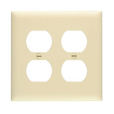 2 Gang Wall Plate With Smooth Finish Pass and Seymour Standard Receptacle Plates - Open Top Receptacle Finish