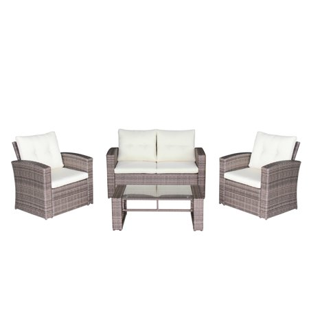 - Magari Furniture N88 4-Piece Complete Outdoor Furniture Seating Patio Cushion Resin Wicker Rattan Garden Iron Frame Set with Cream Cushions, Grey