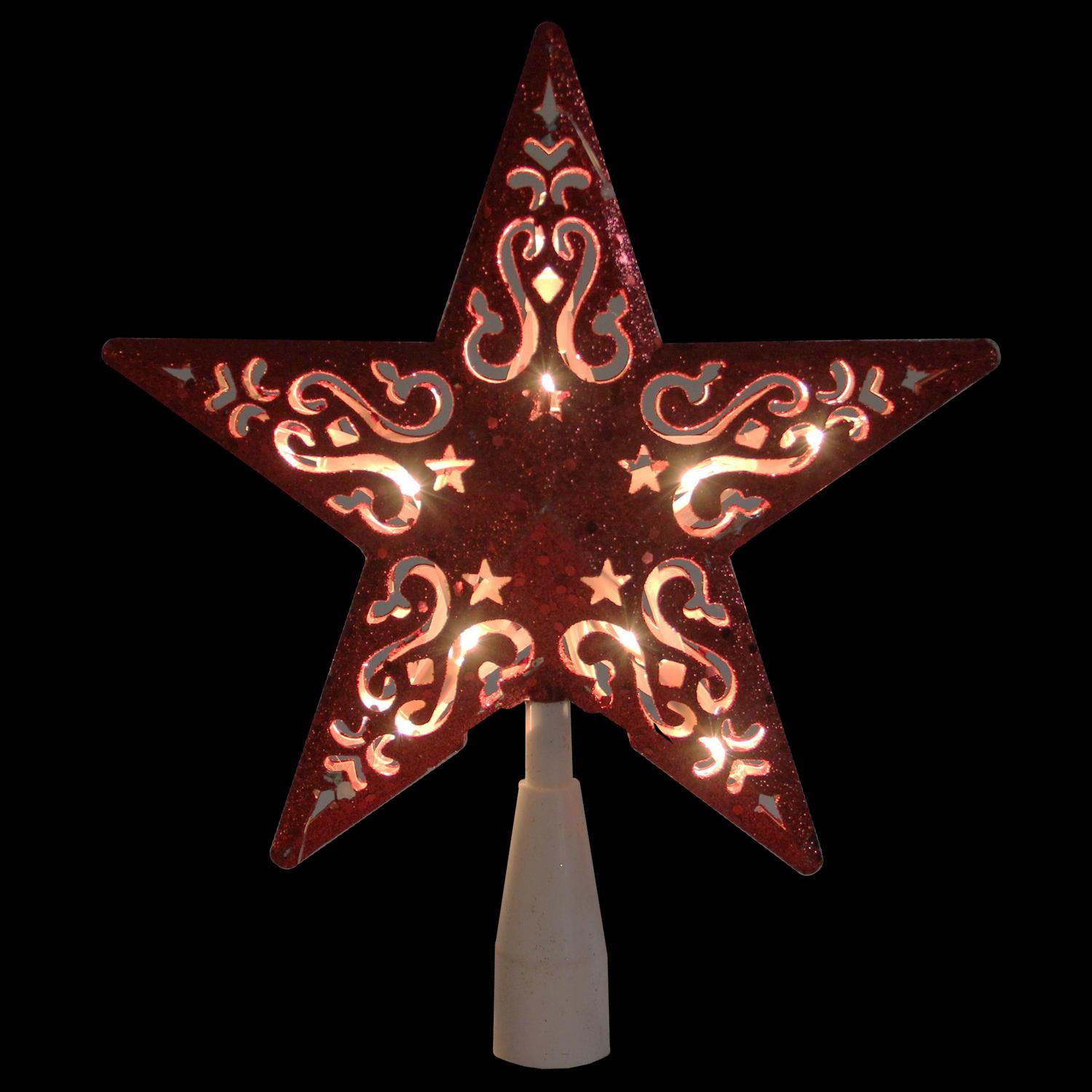 """8.5"""" Red Glitter Star Cut-Out Design Christmas Tree Topper - Clear Lights - image 1 de 2"""
