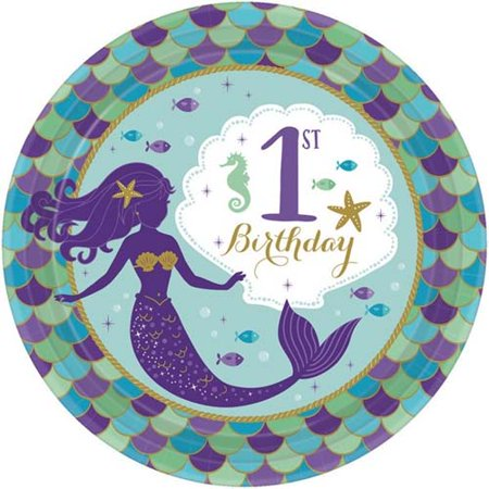 Mermaid 'Mermaid Wishes' 1st Birthday Small Paper Plates (Best Wishes For First Birthday)