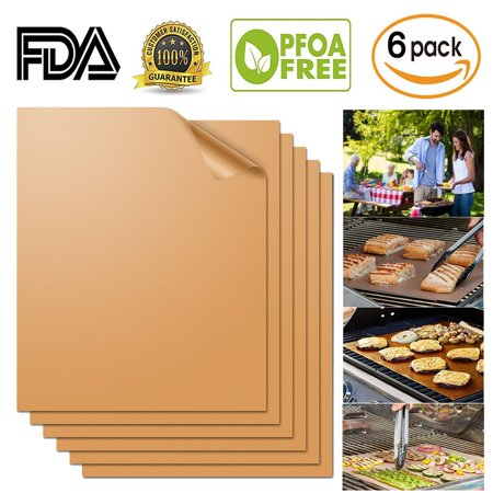【Party Supplies】Copper Grill Mat 6 Set| Non-Stick, Durable, Washable & PFOA Free | For Baking, Grilling, BBQ, Charcoal, Electric, Gas, Oven, Outdoors, Meat, Veggies, Pizza, Cookies & More