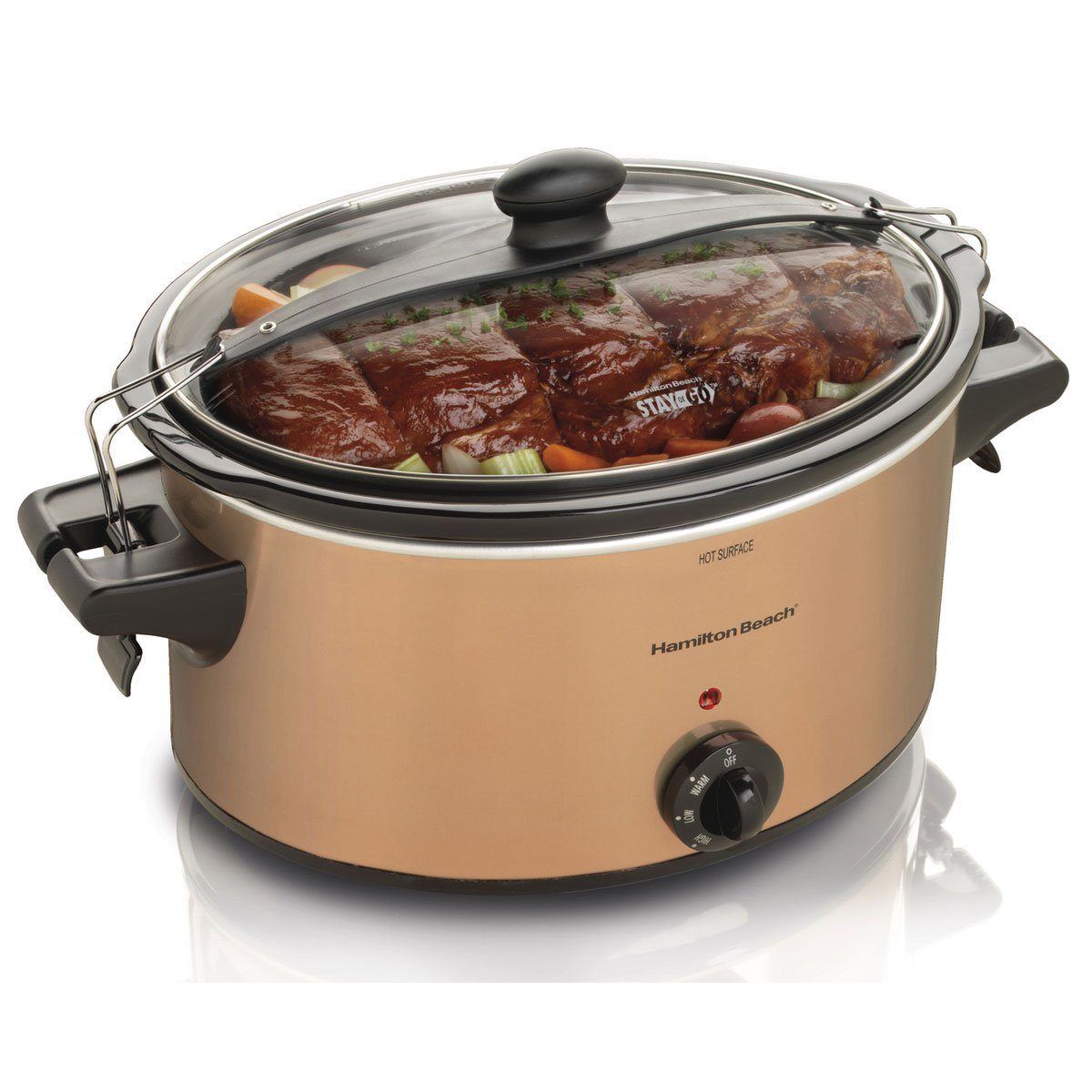 Hamilton Beach 33264 Stay or Go Small 6-Quart Slow Cooker with Timer, Copper