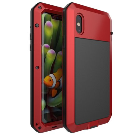 huge selection of cbe98 feadf iPhone X Case Waterproof Shockproof Heavy Duty Aluminum Gorilla Glass Metal  Full Body Hard Case Cover for Apple iPhone X - Red