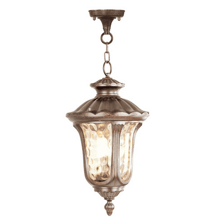 Outdoor Pendants 3 Light With Hand Blown Light Amber Water Glass Moroccan Gold size 11 in 180 Watts - World of Crystal