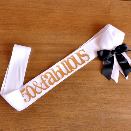 50 and Fabulous Sash. Handcrafted in 1-3 Business Days. 50th Birthday Ideas. 50th Birthday Sash.](Pink And Gold Party Ideas)