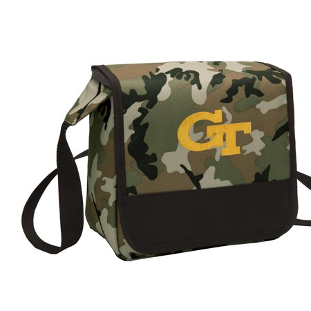 CAMO Georgia Tech Lunch Bag Stylish OFFICIAL GT Yellow Jackets CAMO Lunchbox Cooler for School or Office - Men or (Georgia Camo)
