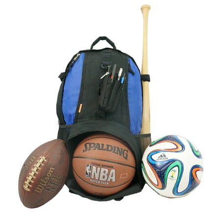 Baseball Backpack Softball Daypack Basketball Volleyball Backpack Football Soccer Bag w/ Ball Storage Helmet Compartment & Bat Holder & Coin Phone Pouch - Royal Blue - Soccer Bags With Ball Holder