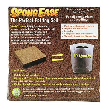 SpongEase Potting Soil - 10 Quart Pop up Bag - Pro Coco Coir Potting Soil for Plants, Seed Starting,