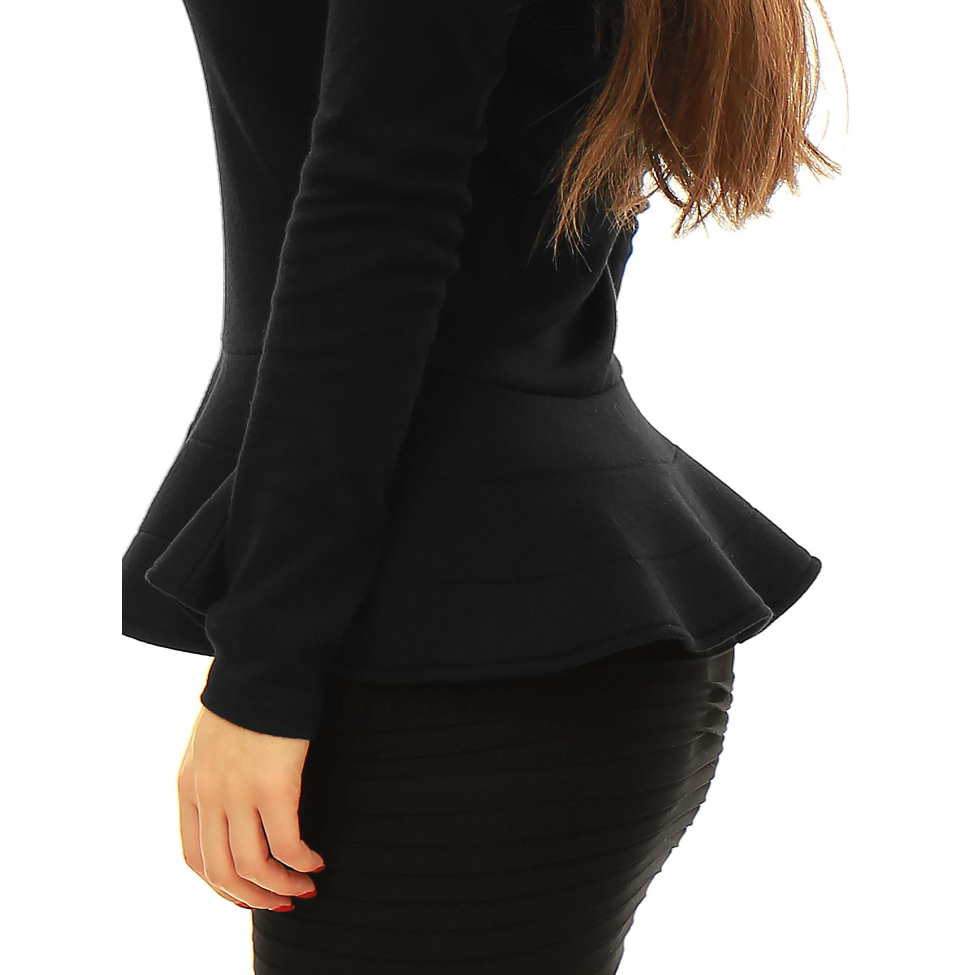1df16568dc4967 Allegra K Lady Off Shoulder Hidden Zipper Side Design Casual Peplum Top  Black XS