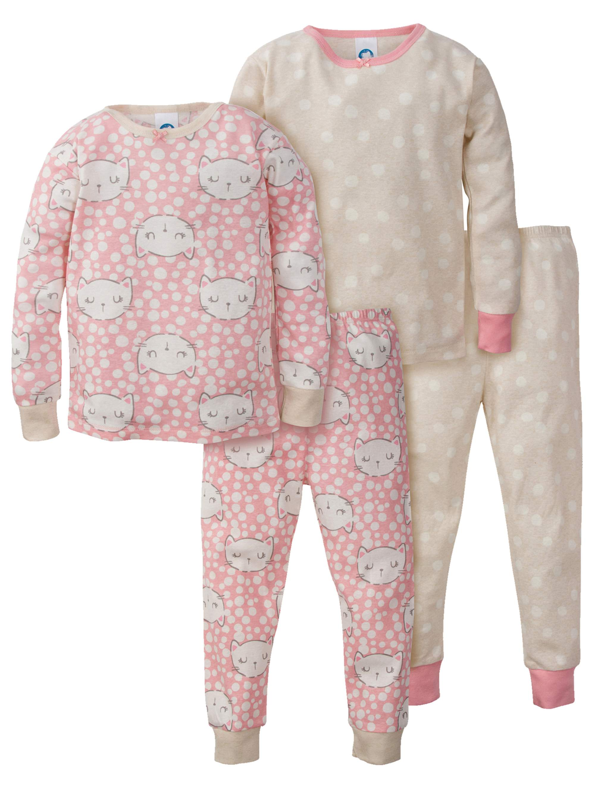 Organic Cotton Mix n Match Pajamas, 4pc Set (Baby Girls & Toddler Girls)